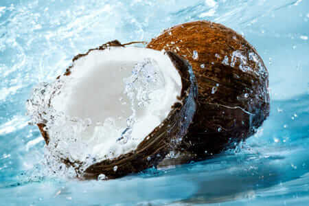 Coconuts opened with water