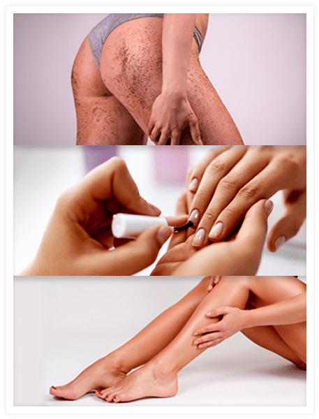 3 images showing steps to take before getting a spray tan