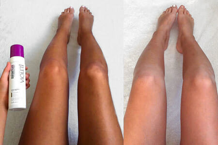 Before and after tanning results in Violet